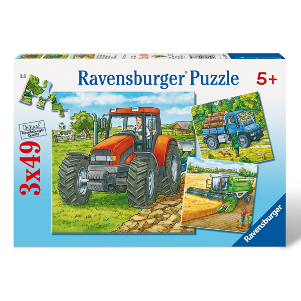 Ravensburger Puzzle 3 in 1, 49 piese: Farm Machinery